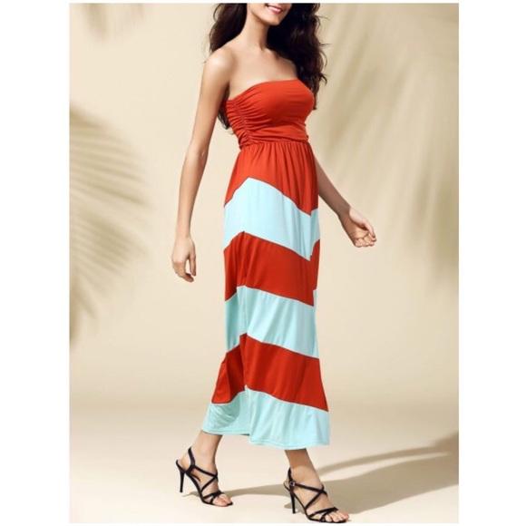 Dresses & Skirts - Striped Strapless Maxi Dress